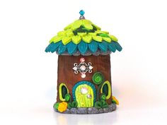 Fairy House: Key-Lime Green and Turquoise Garden by MiniWhimsies