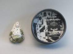 Mindy Andrews of Calgary AB, Canada.  Scoop on Medalta #2. Photo montage of Medalta past and present. Porcelain scoop and framing vessel, slip, decal , rare earth magnets. 12.5x12.5x5cm 0.4kg  $110./SOLD OUT. Exhibition Sales Closed. Call For Entry, Photo Montage, Rare Earth Magnets, Canadian Art, Ceramic Artists, Calgary, Spoon, Decal, Rings For Men