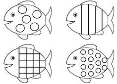 Planche-de-poissons-à-formes-geometriques. Shark Coloring Pages, Fish Coloring Page, Colouring Pages, Coloring Pages For Kids, Drawing For Kids, Art For Kids, Crafts For Kids, Fish Patterns, Applique Patterns