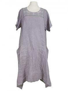 Damen Leinenkleid mit Spitze, grau von Spaziodonna bei www.meinkleidchen.de