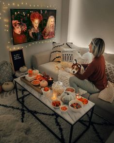 Solo date??? Check out the site to know more fun details Halloween Movie Night, Halloween Tags, Halloween Party Decor, Halloween House, Fall Halloween, Halloween Decorations Apartment, Halloween Living Room, Christmas Movie Night, Halloween Bedroom