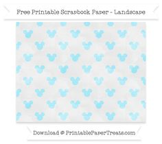 Landscape Pastel Aqua Blue Watercolor Small  Mickey Mouse Head Pattern Paper