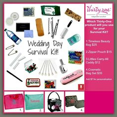 Wedding Day Survival Kit: deoderant, mints, bobby pins, safety pins, floss, Rose's lip salve, tampons, cucumber face wipes, q-tips, aspirin, water, champs, lint roller, Tide pen, lotion, hair spray, protein bar, picture