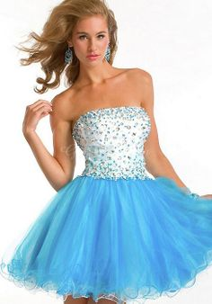 Baby Doll Tulle Strapless Sleeveless Natural Waist With Crystal Prom/Cocktail Dress - Gindress.com