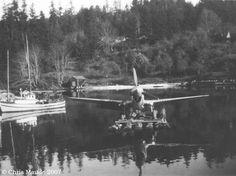 Curtiss P-40-E on raft