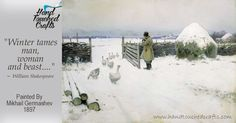 """russian-painting: """"Mikhail Marianovich Germashev - Snow, Oil on canvas, 91 x 127 cm. The State Tretyakov Gallery, Moscow, Russia. Painting Snow, Winter Painting, Russian Painting, Russian Art, Illustration Photo, Franz Marc, Ukrainian Art, Classic Paintings, Winter Landscape"""