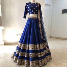 Blue Colour Taffeta Silk Fabric Party Wear Lehenga Choli Comes with matching blouse. This Lehenga Choli Is crafted with Embroidery This Lehenga Choli Comes with Unstitched Blouse Which Can Be Stitched. Indian Lehenga, Red Lehenga, Royal Blue Lehenga, Simple Lehenga Choli, Banarasi Lehenga, Blue Lengha, Lehenga Choli Wedding, Brocade Lehenga, Raw Silk Lehenga