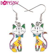 Bonsny Drop Cat Earrings Alloy Enamel Dangle Earrings For Women 2016 News Brand Animal Style Pendientes Boucles d'oreilles