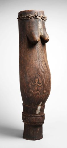 Drum from the Luba culture, DR Congo | Wood, hide and metal | early 20th century