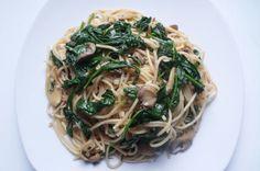 Recept spaghetti met knoflook, spinazie, kappertjes en citroen, koken, hoofdgerecht, pasta, voor luie mensen