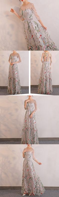 Popular fashion unique embroidery three-quarter sleeve long a-line prom Dress,PD0623
