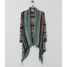 Billabong Loosen Up Cardigan Sweater featuring polyvore women's fashion clothing tops cardigans stripe top striped cardigan billabong cardigan cardigan top fringe top