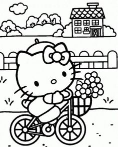 Hello Kitty Enjoying Free Time Coloring Page Full Size Image
