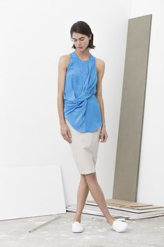 Bava all in one front drape top with self belt worn with gwen basic pencil skirt
