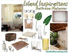 Island Tropical Bathroom Makeover Moodboard outdoor shower pale yellow seagrass water hyacinth bamboo mirror soap dish stone dispenser bath ...