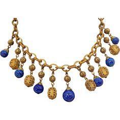 Vintage Miriam Haskell Goldtone Metal Blue Glass Drops Dangle Necklace
