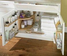 Organize a bathroom vanity using kitchen cabinet supplies! by lara