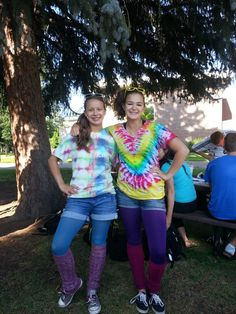 A couple of camp counselors celebrating 80's Week and Twin Day. http://www.coloradoacademysummer.org/
