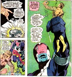 Invisible Kid defeats Validus at the same time as he is crushed to death. From Superboy #203 (July/Aug. 1974); by Cary Bates and Mike Grell. Final Crisis, Saturn Girl, Cosmic Boy, Jimmy Olsen, Avengers Alliance, Smallville, Teen Titans, Cartoon Network, Superman