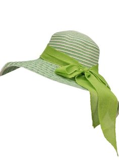 Ladies Green and White Striped Sun Hat