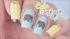 Cute Elephants Nail Art    using Twinkled T elephant sticker vinyls