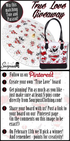 "Sourpuss True Love Giveaway!  1. Follow us on Pinterest 2. Create your own ""True Love"" themed board. Be as creative as you like! Pin as much as you like – at least 5 pins must come directly from SourpussClothing.com 4. Share your board with us! Post a link to your board on our Pinterest page 5. On 2/13/15 we'll pick a winner! The winner will be announced after they have been contacted about their prize. #sourpuss #sourpussclothing #giveaway #contest #valentinesday"