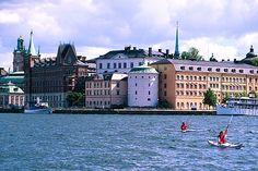 people kayaking in Stockholm, Sweden