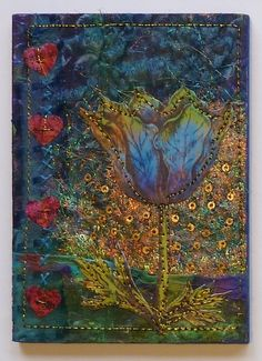 Beautiful mixed media collage by Linda Vincent, paperwhimsy tulip