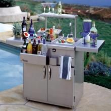 The 30-inch bartending center features an insulated ice compartment with sliding cover, convenient bottle wells for chilling cold beverages, front speed rail for easy bottle access, a sink with removable cutting board, a bottle opener with cap catcher and a decorative towel rack.  - Alfresco 30-Inch Bartender Center With Sink On Cart : BBQ Guys