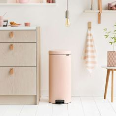 Brabantia NewIcon 30 Litre Pink Pedal Bin from Dunelm. This Brabantia newIcon 30 litre pedal bin features a soft close lid, a pale pink finish and is made using steel and plastic for a durable and easy to clean construction. Brabantia will make a donation to The Ocean Cleanup mission with each item sold.afflink