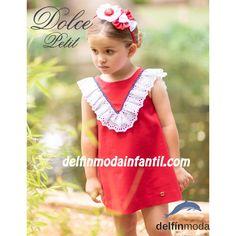 eefd3a53b Vestido de niña DOLCE PETIT evase en rojo con volante Vestidos Niña Verano