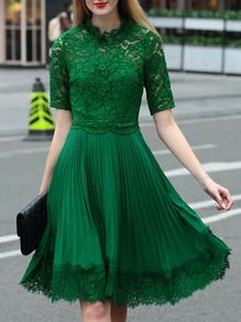 Green Contrast Lace Pleated Bowtie Dress