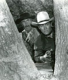ALLAN 'ROCKY' LANE with sidekick Eddy Waller - Republic Pictures - Publicity Still.