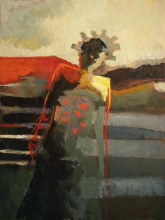 'On My Mind' by California-based American artist Kathy Jones. Oil on canvas, 48 x 36 in. via Lagerquist Gallery