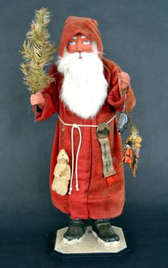 Great grandfather's 21 inch Santa candy container ca. 1900 with unusual plush robe, Jim Gould