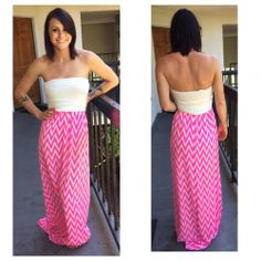 NEW Neon Pink Chevron Maxi Dress / Size Large / Strapless / Boutique Brand #Nymphe #Maxi #Casual