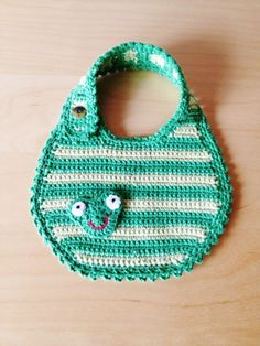 Baby bib by Hyggefisen on Etsy Crochet Baby Bibs, Baby Afghan Crochet, Crochet For Kids, Crochet Toys, Baby Patterns, Crochet Patterns, Baby Design, Baby Accessories, Baby Wearing