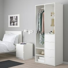SUNDLANDET lemari pakaian terbuka, putih | IKEA Indonesia Diy Wardrobe, Small Wardrobe, Ikea Wardrobe Closet, Small Coat Closet, Narrow Closet, Armoire Wardrobe, White Wardrobe, Clothes Stand, Clothes Rail