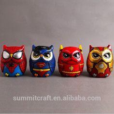 Superman , ironman ,spiderman figurine / mini cartoon owl figurine