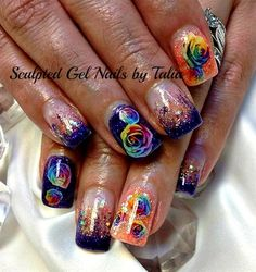 Rainbow of Roses by gelnailzbytalia - Nail Art Gallery nailartgallery.nailsmag.com by Nails Magazine www.nailsmag.com #nailart