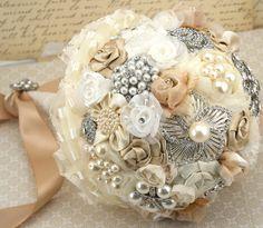 Brooch Bouquet Wedding Bouquet Vintage Style Bouquet by SolBijou, $350.00