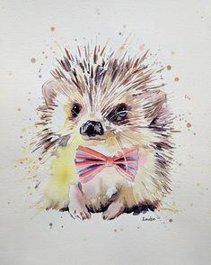 Acrylic and watercolour portrait artist. Hedgehog Art, Hedgehog Drawing, Art And Illustration, Hedgehog Illustration, Animal Paintings, Animal Drawings, Art Drawings, Watercolor Animals, Watercolor Paintings