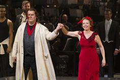 Bryn Terfel (Sweeney Todd) and Emma Thompson (Mrs Lovett) at Sweeney Todd curtain call at ENO's London Coliseum. Photo credit Dan Wooller