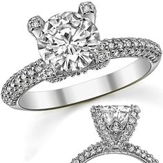 Round Moissanite & Diamond Pave Style Engagement Ring