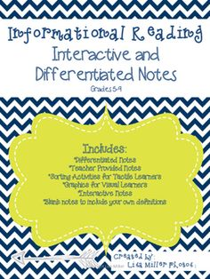 Informational Reading Interactive and Differentiated Notes aligned to the CCSS for grades 5-9As a special education teacher, I have often been asked to create materials for use in many different classrooms. To do this, takes time, energy, and creativity.