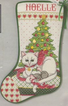Christmas Kitty Cat Cross Stitch Stocking Kit Charmables by Needleform #NeedleForm