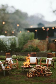Summer firepit in the back yard
