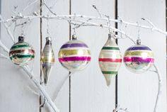 Set of 5 striped christmas ornaments vintage von Grannysbox auf Etsy
