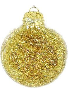 Unique Clear Christmas Tree Ornament filled with Hundreds of Gold Slivers