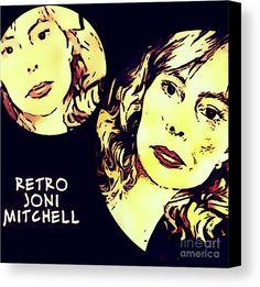 Joni Canvas Print featuring the digital art Retro Joni Mitchell by Caroline Gilmore